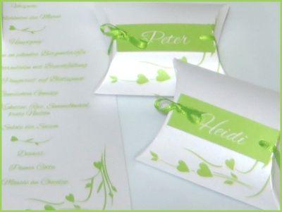 """Gastgeschenke """"Hochzeitsherz"""" grün"""