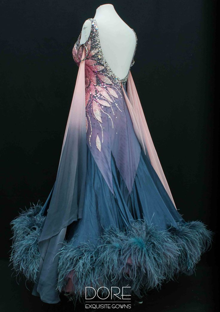 Doré Designs | Hematite & Pink Standard w/Pink Stoned Petal Design w/Attached Fade Floats & Hematitie Godets w Boas