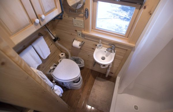 The bathroom in Nic Ledoux and Robin Bienenstock's tiny home can be seen recently in Freeport. They have hot and cold water and a composting toilet installed in the home that has about 200 square feet of living space.