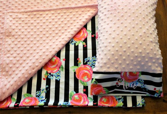 Nap Mat Cover - Black & White Stripe - Floral - Choose Your Colors - Kindermat - Back To School - Pillowcase - Blanket - Minky