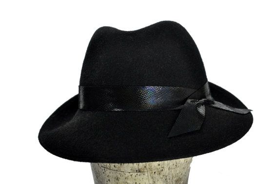 Agata Wool Felt Fedora Hat in Black with Leather Strap by SOHODA