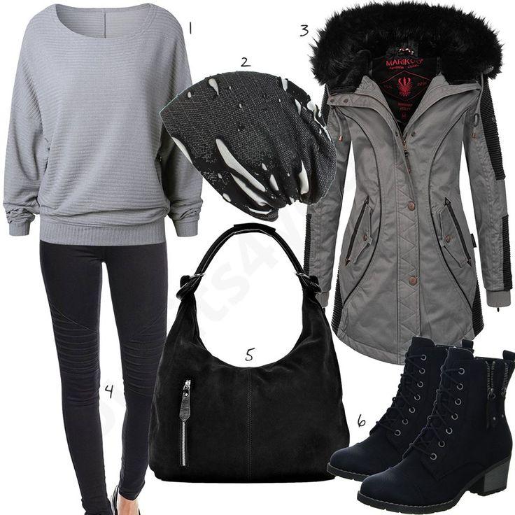 Winteroutfit mit grauem Strickpullover und Mantel (w0741) #shopper #mütze #jeans #mantel #outfit #style #fashion #womensfashion #womensstyle #womenswear #clothing #frauenmode #damenmode #handtasche  #inspiration #frauenoutfit #damenoutfit