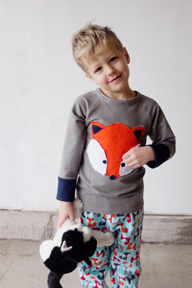 FREE PATTERN! Boy's pajama pants and fox applique