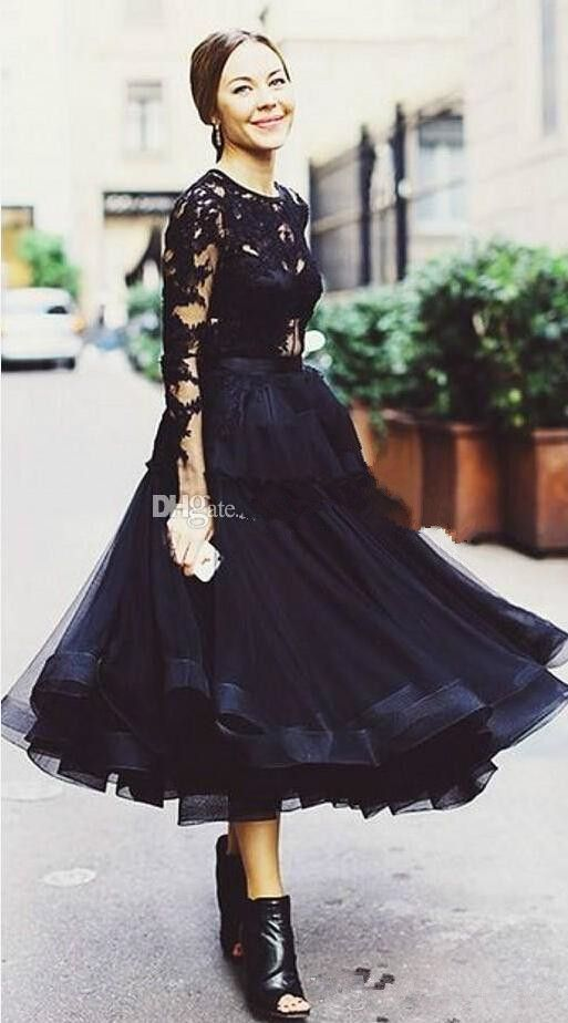 1000 Ideas About Black Tea Length Dress On Pinterest