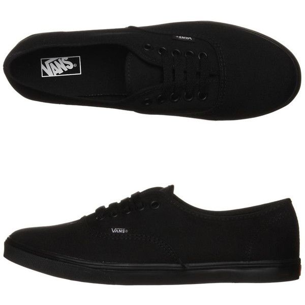 Vans Womens Authentic Lo Pro Shoe ($63) ❤ liked on Polyvore featuring shoes, sneakers, vans, black black, vans sneakers, waffle shoes, vans trainers, lace up sneakers and black trainers