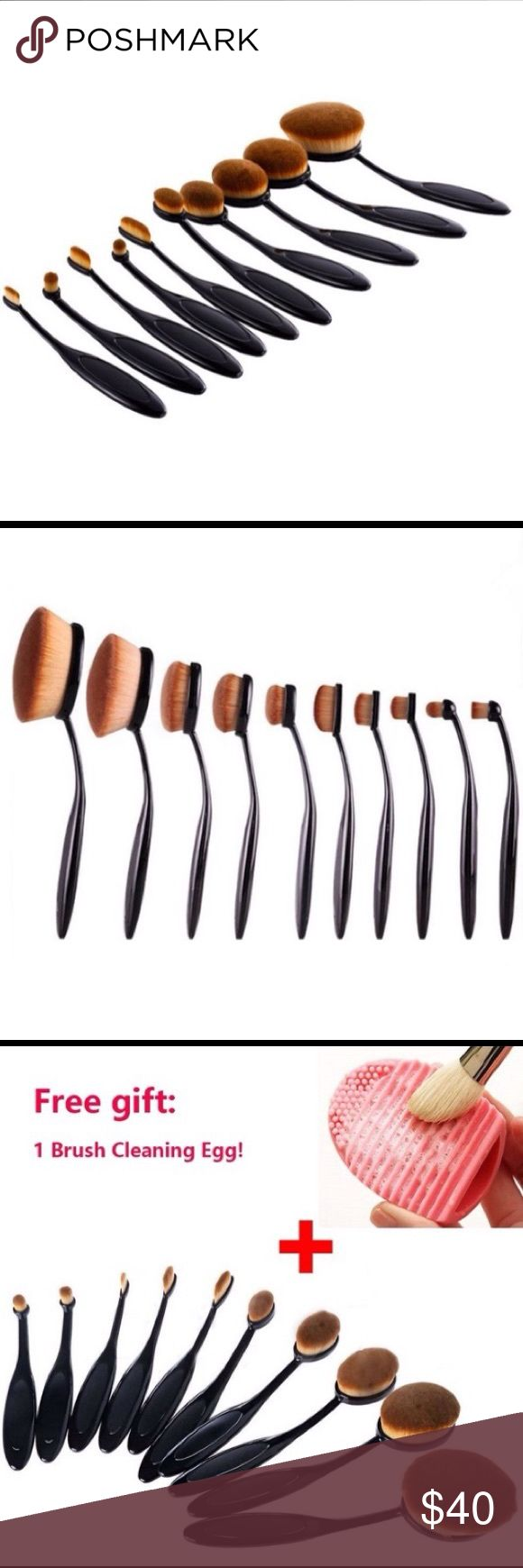 🆕 10 pc makeup brush set. 10pc toothbrush style makeup brush set with free brush cleaner. Super soft bristles and comfortable black grip handles. Accessories