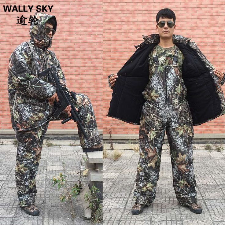 Winter Bionic Military Jungle Camo Suits Windproof Thermal Cotton Wadded Jacket Pants Sets Outdoor Hunting Clothes