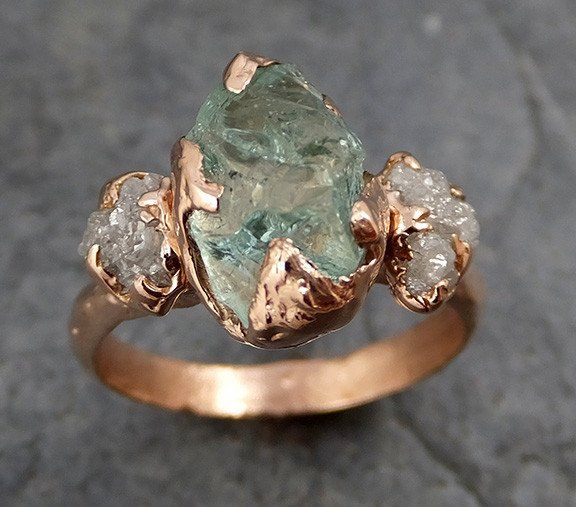 Raw Uncut Aquamarine Diamond Rose Gold Engagement Ring Wedding Ring Custom One Of a Kind Gemstone Ring Three stone Ring