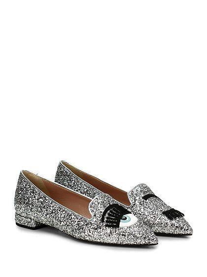 Chiara Ferragni - Scarpa bassa - Donna - Scarpa bassa in glitter con applicazioni frontali. Suola in cuoio, tacco 20. - ARGENTO