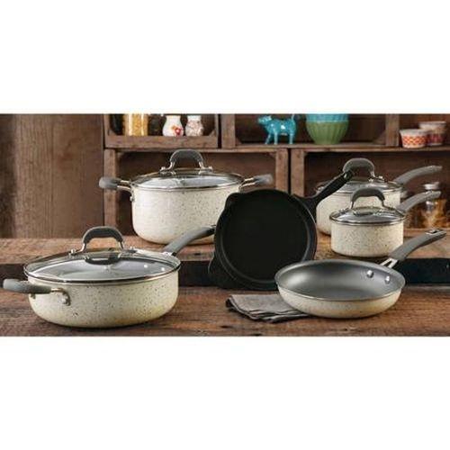 Pioneer Woman Linen Speckled Cookware Set Vintage Line 10 pc Kitchen Non Stick  #PioneerWoman