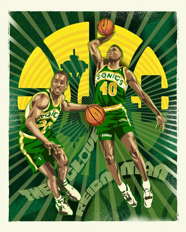 The Glove and Reign Man -- Gary Payton and Shawn Kemp Sonics art by Mark Sgarbossa, available in fine art prints and stretched canvases at RAREINK.com. $99. Official art of the NBA.