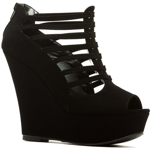 CiCiHot Black Faux Nubuck Strappy Peep Toe Wedges ($22) ❤ liked on Polyvore featuring shoes, sandals, strap wedge sandals, strappy sandals, black sandals, peep toe sandals and wedges shoes