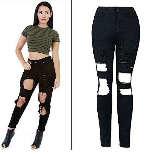 b93f9e4afb98 SHINEHUA Damen Jeans Skinny Jeans Denim High Waist Slim Leggings ...