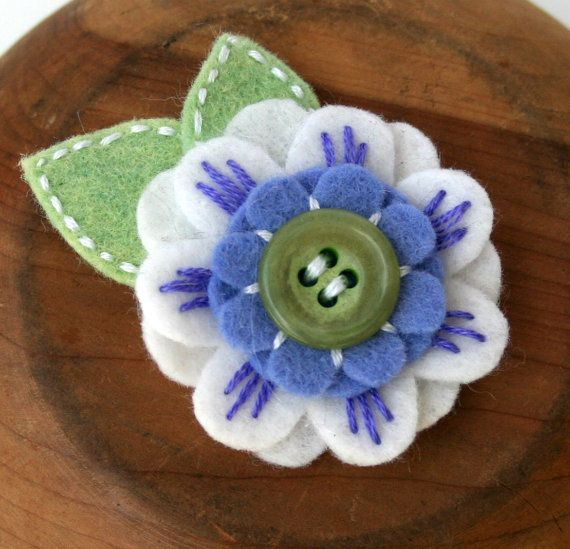 mini felt flower. Would be good for wrapping presents or possibly to put on a handmade pillow