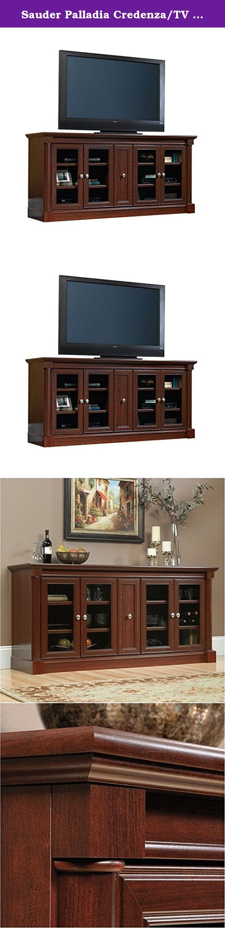 Sauder Palladia Credenza/TV Stand. Affluent styling at an affordable price, the Sauder Palladia Credenza/TV Stand features elegant wood and select cherry veneer with clear glass doors and ample storage and display options. The two-door cabinets at each side provide a total of four adjustable shelves for A/V components and media, and the wooden center door opens to an included power strip. About Sauder Sauder is North America's leading producer of ready-to-assemble (RTA) furniture and the...
