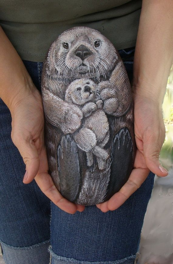 Sea Otter Painting on Stone - Mom and Pup