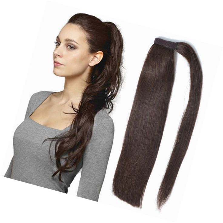 Real Human Hair Clip in Ponytail Extensions Dark Brown Colour 22 Inch 100g One P