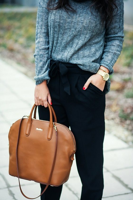 *Knit it! - styled by Zipy* #mango #greysweater #highwaisted #trousers #maxmara #bag #zipy #zipystyle #fashionblogger #outfit