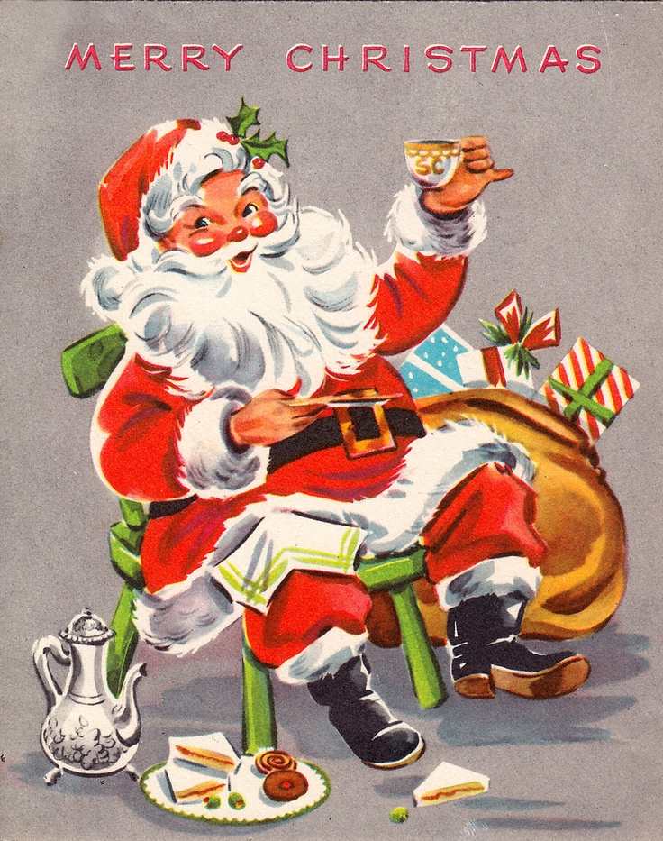 Cheers vintage christmas card christmas graphics 3 for Santa cards pinterest
