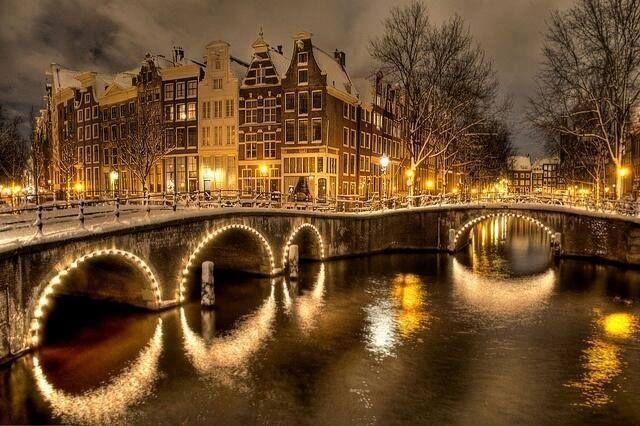 Winter night in Amsterdam, the Netherlands