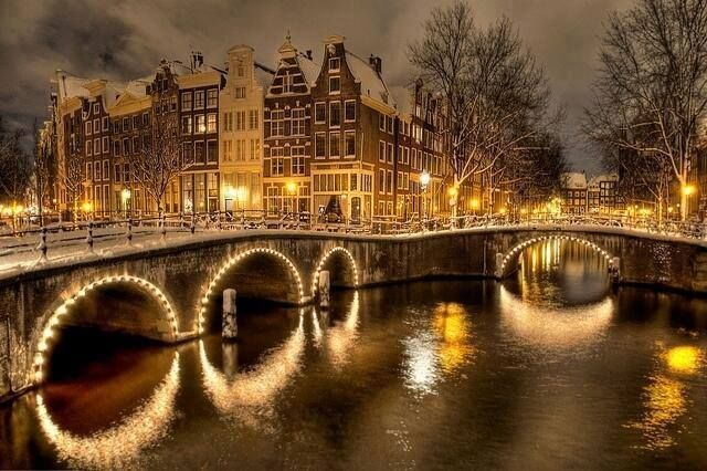Winter night in Amsterdam, the Netherlands
