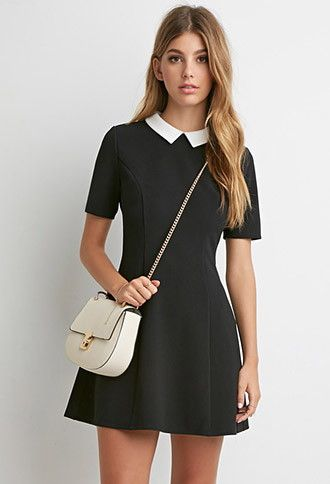 Bridal Shower Option. Contrast Collar Textured Dress | Forever 21 - 2000179433