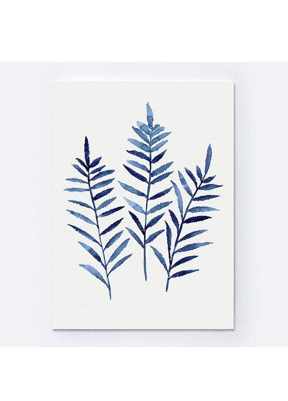 Helecho planta impresión azul marino botánico cuadros. Acuarela de hoja de regalo. Impresión del arte abstracto hogar jardín. Cartel minimalista algo azul.  Tipo de papel: Impresiones hasta (42 x 29, 7cm) 11 x 16 pulgadas tamaño se imprimen en el archivo ácido libre 270g/m2 papel acuarela blanco y conserva el aspecto de la pintura original. Más grandes impresiones se imprimen en 200g/m2 papel de cartel blanco semibrillante.  Colores: Imprime el archivo alta calidad 10-Cartucho Canon...