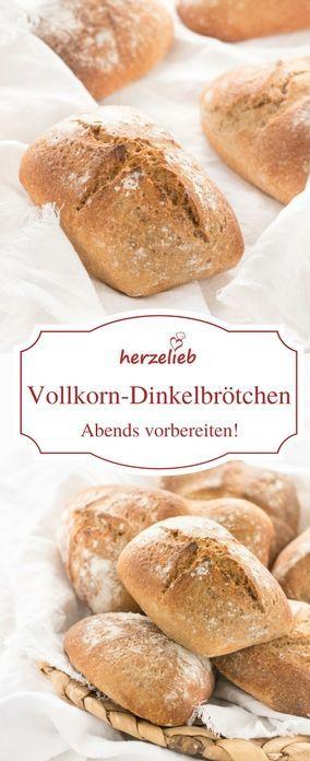 Brötchen Rezept - Vollkorn Dinkel Brötchen , die über Nacht gehen. Rezept von herzelieb. #deutsch #foodblogger #backen #brot