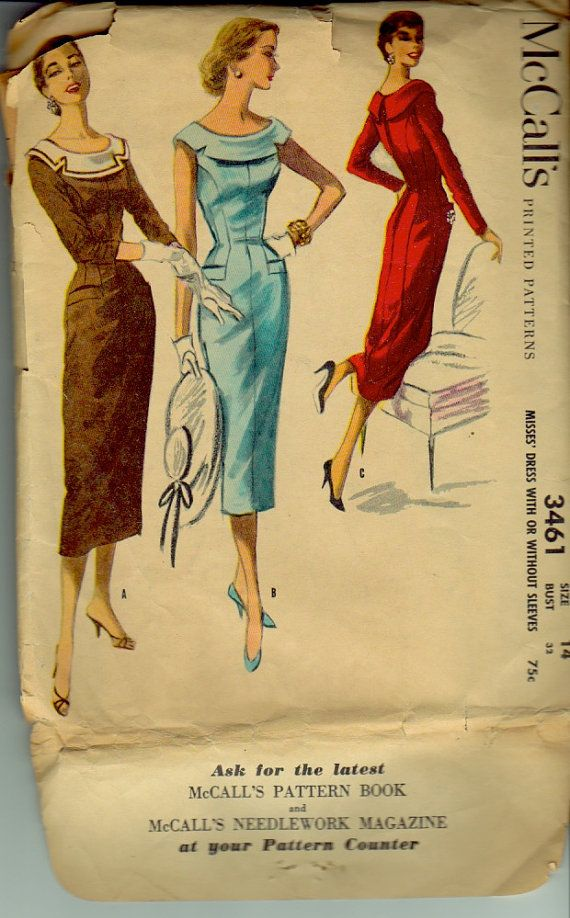 McCall's 3461 Vintage Sewing Pattern Bust 32 Inches Wiggle Dress with Bateau Neckline Dated 1955
