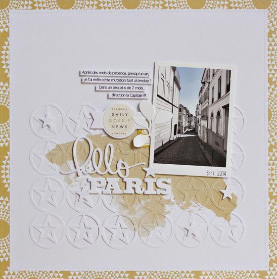 """Le ton sur ton avec les découpes ? Oui ! Page de scrap Hello Paris d'@armance  de l'équipe créative Kesi'art, dans son article """"Mon produit préféré : les dies MetaliKs""""."""