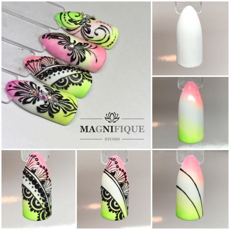 "Magnifque Studio (@magnifique_studio_indigo_nails) auf Instagram: ""#indigonailslab #nails4you #summerfling #summernails #indigo #indigonails #indigoombre…"" Nail art tutorial step by step summer"