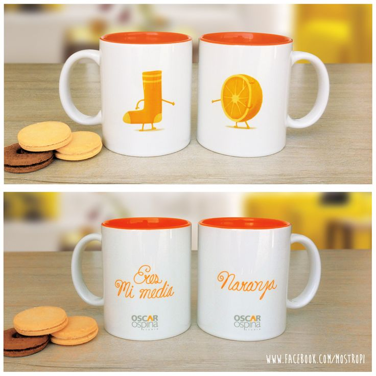 "PAREJA DE MUGS  ""MI MEDIA NARANJA""    #ilustracion #draw #dibujo #cute #kawaii #illustration #oscarospina #mostropi #amor"