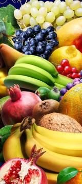 Zutaten für grüne Smoothies: frisches Obst und grüne Blätter
