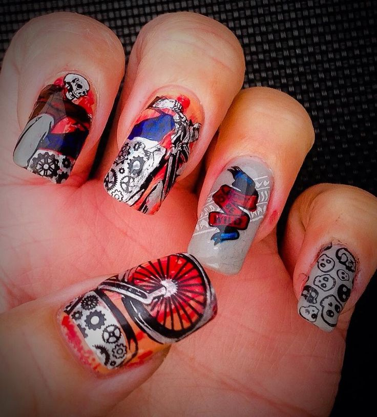 """Biker Nail Art by """"Lorena Style"""". Inspired by """"Cassis P""""."""