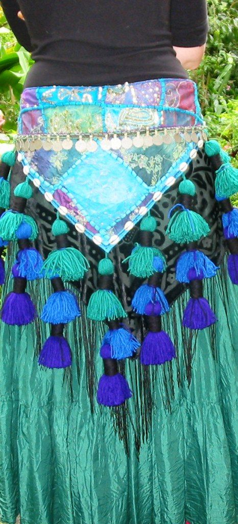 Tribal Belly Dance Tassels Belt - love the teal/turquoise/blue color combo. Also love the silk skirt underneath.