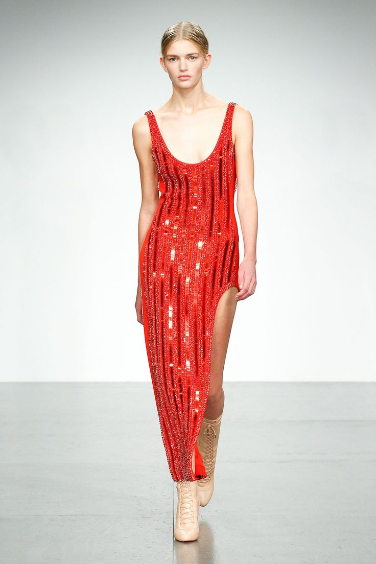 Channel Jessica Rabbit in this lovely shimmering red vest dress with all over sparkle and thigh slit - David Koma SS18 #fire...x