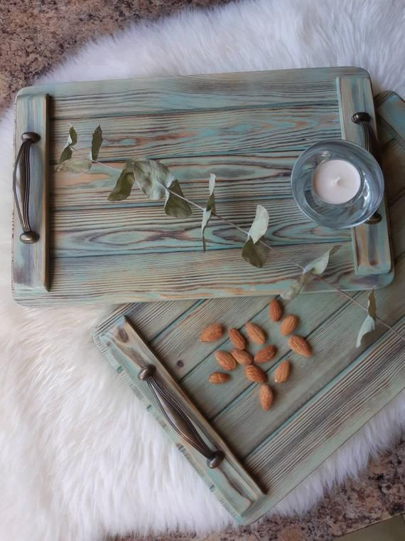 Tray With Handles Serving Tray Rustic Serving Tray Wooden Etsy Rustic Serving Trays Wood Display Stand Serving Tray