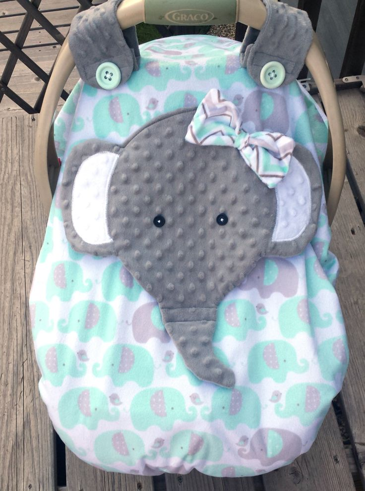 Made To Order Girls Minky Appliqued Elephant Fitted  Car Seat Canopy With Peek-A--Boo Opening Two Layers Of Minky Girls Mint Grey by lindasnd on Etsy