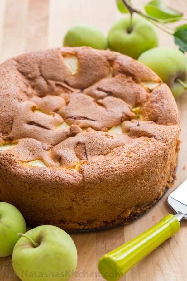 Meet your new favorite apple cake! This country apple cake (a.k.a. Sharlotka) is soft, moist and so easy with just 6 ingredients - perfect for company! | natashaskitchen.com