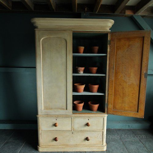 North country pine housekeepers / linen cupboard in original paint .