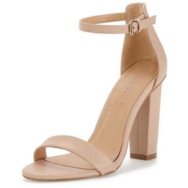 Shoe Box Daisy High Block Heeled Ankle Strap Sandals (£22) ❤ liked on Polyvore featuring shoes, sandals, heels, silver strappy sandals, strappy sandals, block-heel sandals, silver block heel sandals and strap sandals