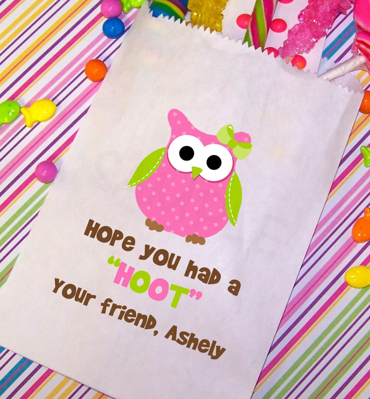 Owl Birthday Party, Candy Bags, Goody Bags, Party Favor Bag, Set of 25. $22.00, via Etsy.