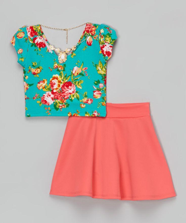 Coral Floral Crop Top Set - Toddler & Girls