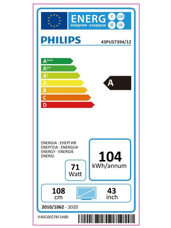 Philips 43pus7394 2019 Led Hdr 4k Ultra Hd Smart Android Tv 43
