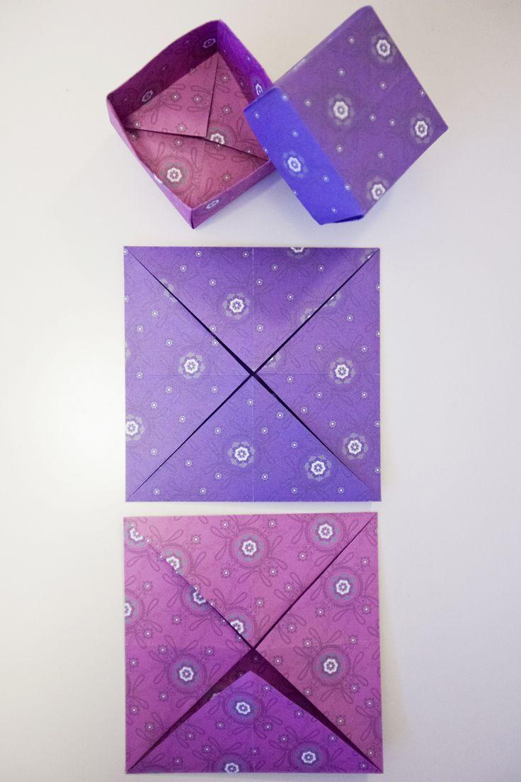 Lahjapaketti. Määritä neliönmuotoisen origamipaperin keskikohta taittamalla paperi kulmasta kulmaan. Taivuta jokainen kulma keskipisteeseen, jolloin paperista muodostuu pienempi neliö. Tee reunoihin suorakulmaiset taitokset, jotka ylettyvät paperin keskipisteeseen. Avaa kaksi vastakkaista reunaa kokonaan, ja jätä toiset reunat taitetuiksi. Pidä reunat pystyssä.Taivuta avatut reunat paikoilleen taittamalla päätyjen reunat kohti keskustaa. Tee kansi samalla tavalla. (AL 24.12.2012)