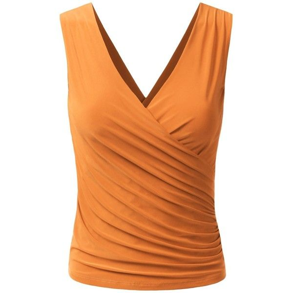 Wrap Front V Cutout Back Top (14 Colors) (170 SEK) ❤ liked on Polyvore featuring tops, camisole tops, orange cami, cut out back tops, orange camisole and wrap front top