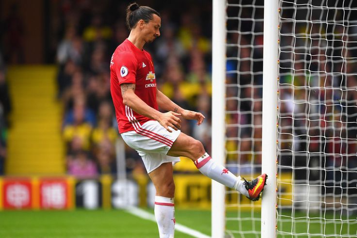 Zlatan Ibrahimovic kicks the post in frustration after Watford score their…