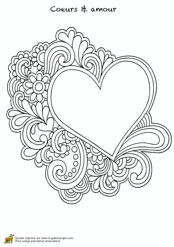 Heart 3 Printable Adult Coloring Pages Pinterest