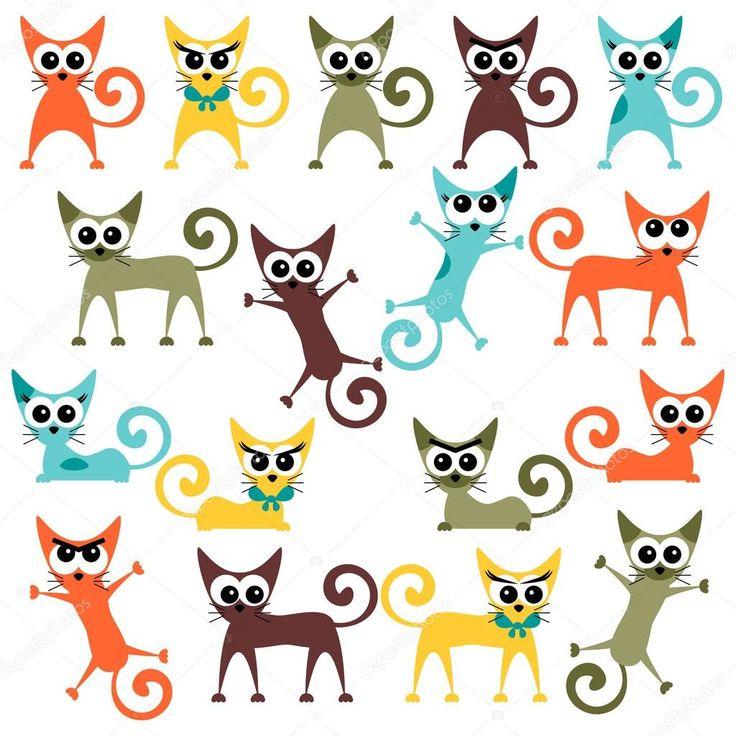 Набор милый яркими мультфильм кошки — стоковая иллюстрация #12052617