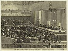 Haymarket affair - An artist's sketch of the trial, Illinois vs. August Spies et al. (1886)
